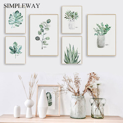 Watercolor Plant Green Leaf Canvas Poster Nordic Wall Art Botanical Print Painting Scandinavian Decoration Picture Home Decor