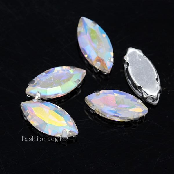 Всех размеров Наветт 24-цветное стекло камень с плоской задней частью, пришить с украшением в виде кристаллов Стразы драгоценные камни бисер с серебряной нитью, бледно-коготь кнопки для одежды аксессуары - Цвет: clear ab