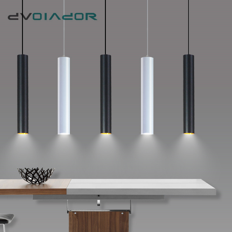 Modern LED Long Tube Pendant Lights Minimalist Droplight Restaurant/Dinning Room/Bar Cylindrical Pendant Lamps Kitchen Hang Lamp