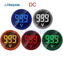 Mini voltmètre numérique rond de 22mm DC 6-100V, testeur de tension, moniteur de puissance, indicateur LED, affichage de lampe pilote