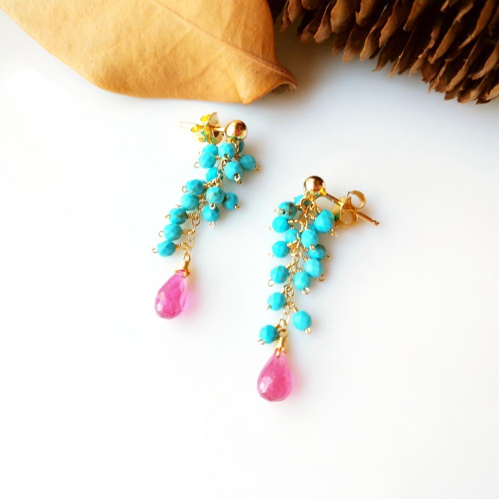 Lii Ji véritable rose saphir bleu Turquoise perles à la main 925 en argent Sterling 18K or couleur boucles d'oreilles femmes bijoux