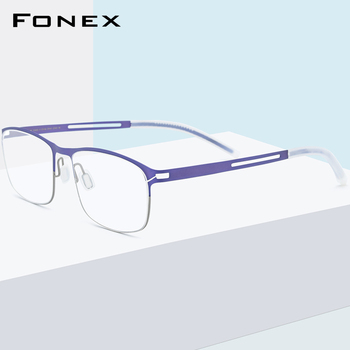 FONEX B Titanium Glasses Frame Men Square Optical Prescription Eyeglasses 2020 New Antiskid Silicone Screwless Eyewear 8529