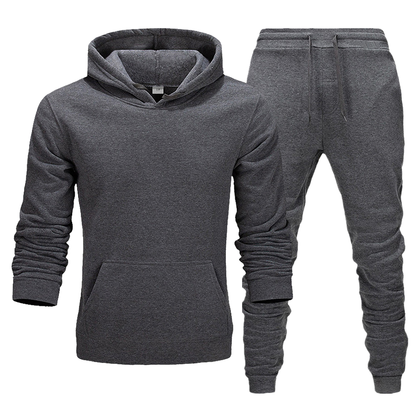 Solid Color Hoodie + Pants Men And Women Suit Autumn And Winter Long-sleeved Boutique Two-piece Suit Sweatshirt Sweater Pants
