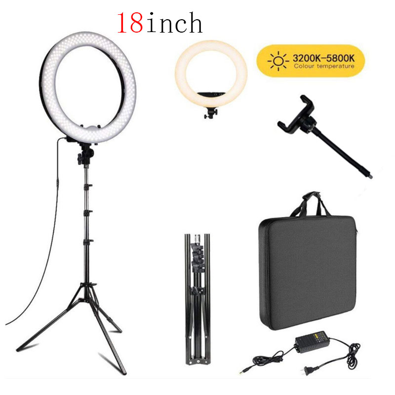 Photo Studio LED video Ring Light 18 inch Selfie 3200k-5600k With Tripod For Ring Lamps Photography YouTube Photo Makeuplight