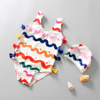 1 8 years old kids swimsuit for girls lovely yellow duck bathing suit children swimsuit princess one piece swimwear swimming cap Kids Baby Girls' Summer Cute Print Bowknot One-Piece Swimsuit With Swimming Cap Infant Fashion Sleeveless Swimwear Bathing Suit