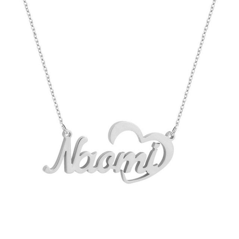 Custom Nameplate Necklace Heart Carved Cursive Necklace for Women Man  Stainless Steel Gold Necklace Gift for Best Friend Bijoux