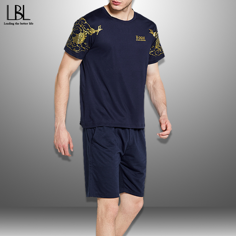 Casual Men's Set Summer 2020 Sportswear Tracksuit Men New Print O Neck T Shirts + Shorts 2 Piece Set Mens Sets Streetwear 4XL