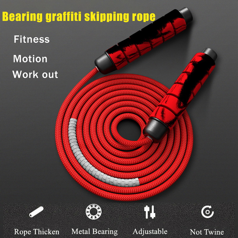 Heavy Adjustable Weighted Skipping Handle Home Gym Jump Rope Weavon Cable Foam