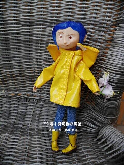노란색 비옷 관절과 귀여운 코랄 린 소녀 인형 그림 장난감 어린이 생일 선물 장식 20cm