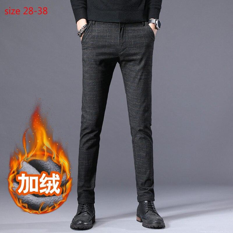 2020 New Men's Stretch Pants Warm Wool Dress Pants Flannel Lining Black Blue Gray Straight Pants Casual Suit Pants Winter 28-38