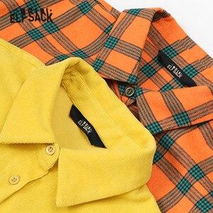 Image 3 - Женская клетчатая блузка ELFSACK, желтая однотонная Повседневная Блузка с вышитыми буквами, с рисунком Brit Graphics, зима 2019