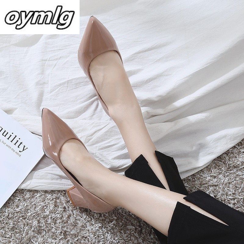 2019 New Women's Feet Glossy PU Women Brand Designer Luxury Women Shoes Prom Wedding Shoes Thin Heels Pointed Toe High Heels