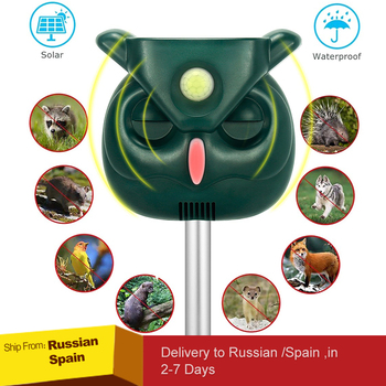 Ultrasonic Animal Repeller, Solar Powered Waterproof  Sound, PIR Sensor Flashing Light for Cats, Dogs, Squirrels, Moles, Rats