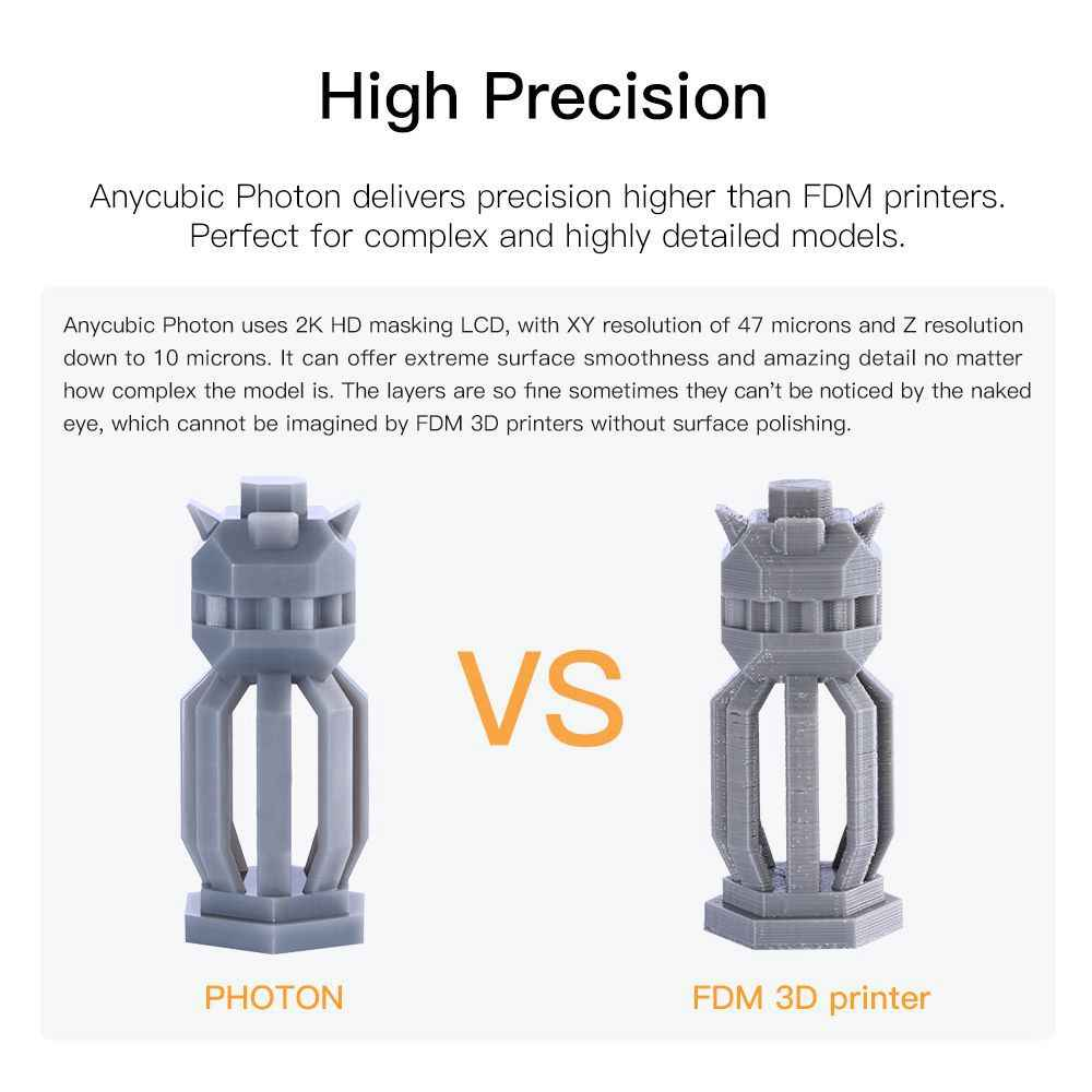 Impresora 3D ANYCUBIC Photon, Impresora 3d de resina UV SLA, Impresora LCD de alta precisión, iluminadora, pantalla táctil de escritorio, Impresora 3d
