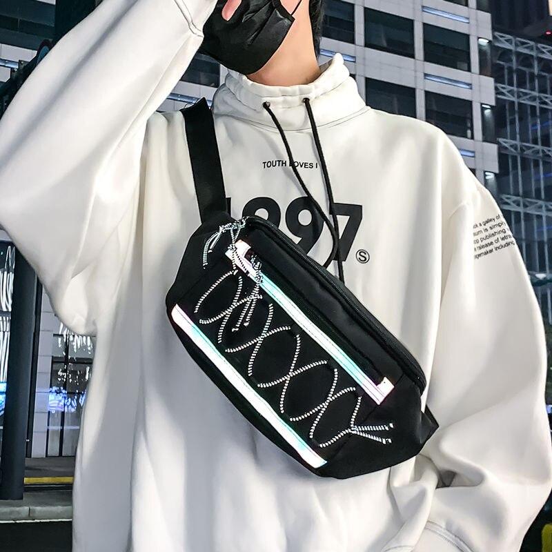 Waist Bag For Men Streetwear Reflective Crossbody Chest Bags Fanny Pack Unisex Trend Outdoor Hip Hop Banana Bag Waist Pack