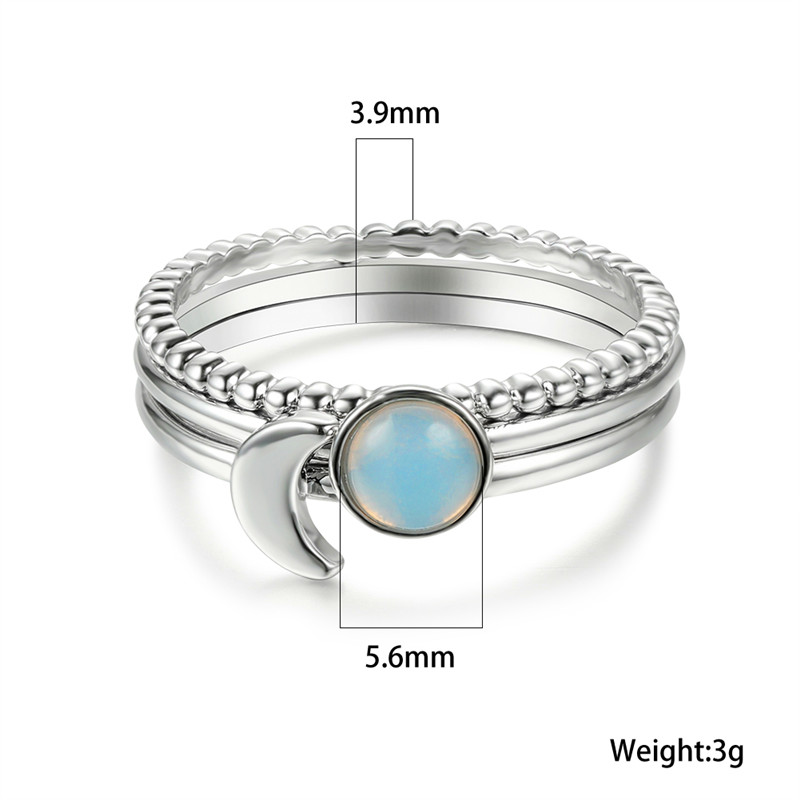 Cute Female Small Round Moonstone Ring Set 3pcs Silver Color Promise Engagement Ring Vintage Party Wedding Rings For Women