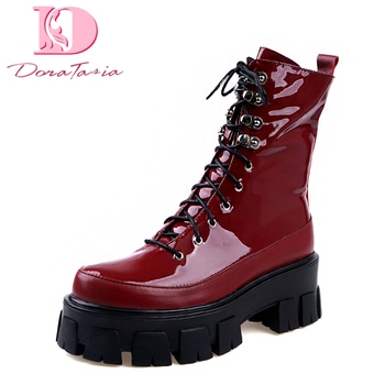 Doratasia 2020 Fashion Genuine Leather Motorcycle Boots Chunky Heels Ankle Boots Woman Shoes Platform Shoelace Shoes Women Boots
