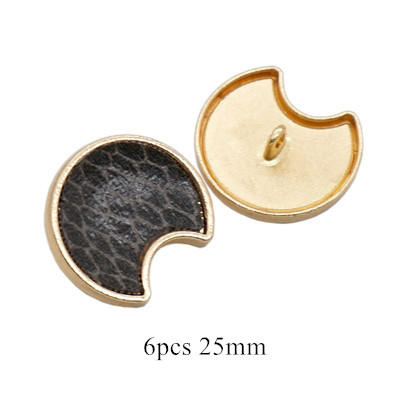 17 мм/25 мм квадратные плоские пуговицы в форме Луны, леопардовая ткань, пуговицы ручной работы, аксессуары для украшения скрапбукинга - Цвет: 6pcs