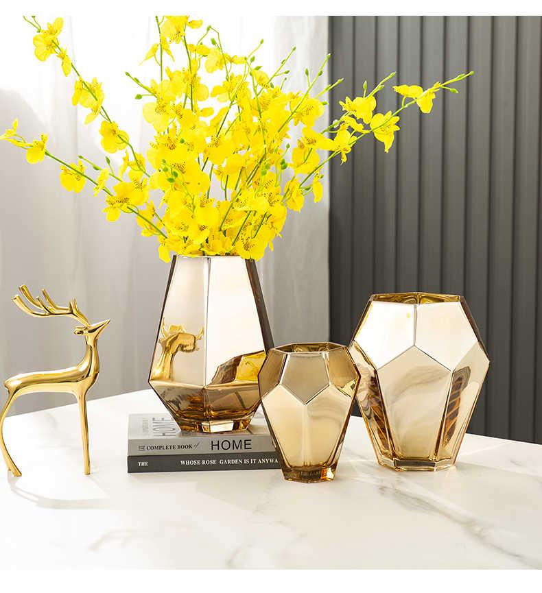 Nordic Stijl Galvaniseren Proces Glazen Vaas Moderne Decoratieve Vazen Woonkamer Decoratie Home Decor Vazen Voor Interieur Vazen Aliexpress