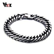 Vnox-pulsera de eslabones de acero inoxidable para hombre, brazalete masculino, estilo Retro, 8 pulgadas