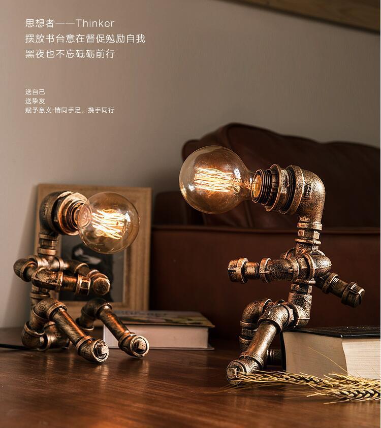 água robô lâmpada de mesa para casa