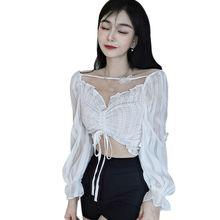 Liva girl ретро блузка Корейская рубашка с v образным вырезом