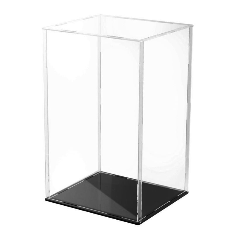 Clear Acrylic Display Case Black Base Dustproof Protection Model Toy Show Box P31B