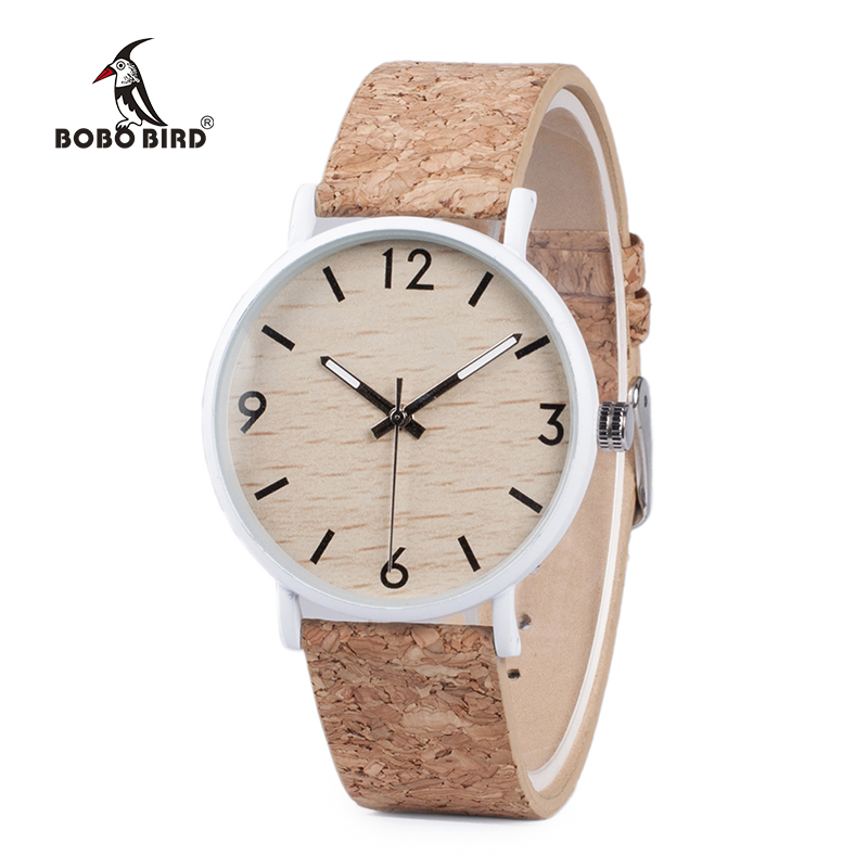 BOBO BIRD Stylish Wood Women Quartz Watch Relogio Feminin Stainless Steel Case With Cork Leather Band Thickness часы женские