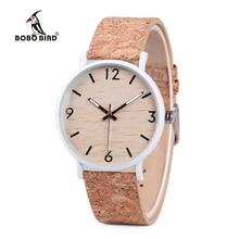 BOBO BIRD สไตล์ไม้ผู้หญิงควอตซ์นาฬิกา relogio feminin สแตนเลสสตีล Cork หนังความหนา часы женские