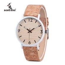 בובו ציפור אופנתי עץ נשים קוורץ שעון relogio feminin נירוסטה מקרה עם פקק עור להקת עובי часы женские