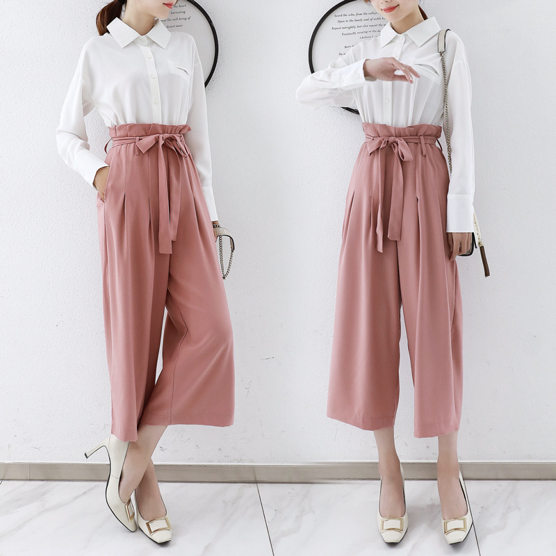 Photo Shoot Autumn Clothing 2019 New Style Set Online Celebrity Late Evening Breeze Shirt with High-waisted Loose Pants Two-Piec