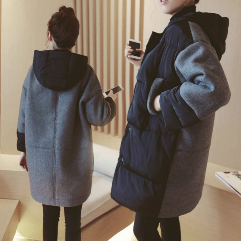 New Winter Maternity Coat Jackets Korean Fashion Maternity Coats Cotton-padded Patchwork Loose Outwear For Pregnant Women Coat