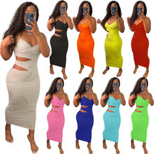Elegant Chic Solid Dresses for Women Hollow Summer Sexy Bodycon Sleeveless Beach Streetwear Party Maxi Dresses for Women Dress