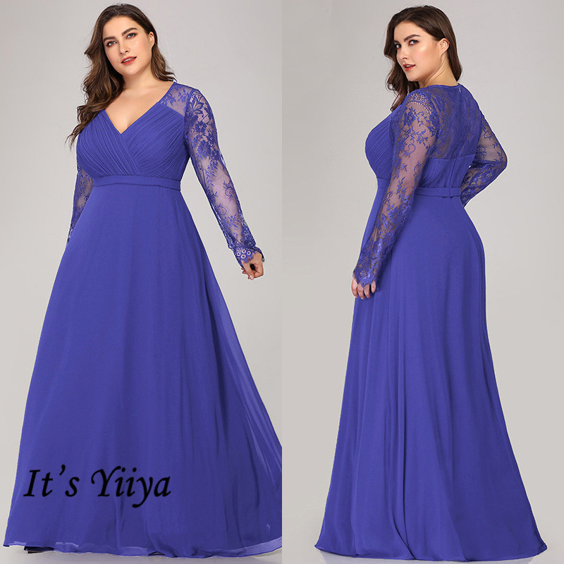 It's Yiiya Evening Gowns V-Neck Plus Size Lace Illusion Evening Dress 2020 C400 Long Sleeve Chiffon Zipper Robe De Soiree