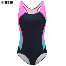 Riseado New One Piece Swimsuits Patchwork 2021 Swimwear Sport Swimming Suits for Women Racer Back Competition Bathing Suits