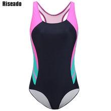 Riseado Nuovo di Un Pezzo Costumi Da Bagno Patchwork 2020 Costumi Da Bagno Sport Costumi Da Bagno per Le Donne Racer Indietro Concorso di Costumi da bagno