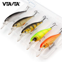 VTAVTA 5 Teile/los Schwarz Minnow Angeln Lockt Schwimm Wobbler Locken Harten Köder Für Hecht Wobbler Minow Wobbler Angeln Tackle Box(China)