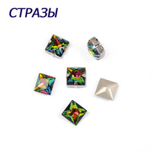 CTPA3bI 4447 Princess Square Crystal Vitrail Medium Needlework Beads For Jewelry Making Glass Strass Charming Accessories