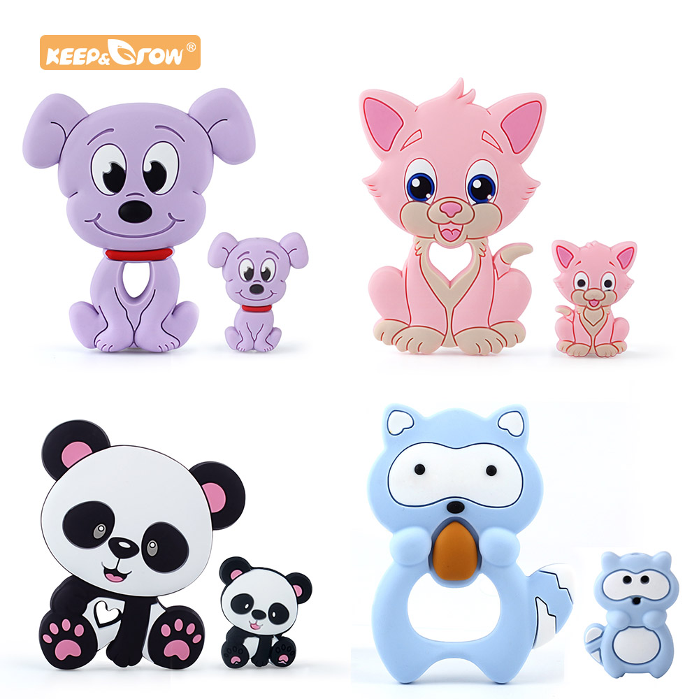 Keep&Grow Silicone Beads Candy Cat Baby Teether Cartoon Food Grade Safe Toys Tiny Rod For DIY Necklace Accessories BPA Free(China)