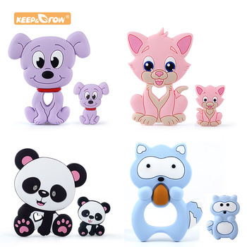 Keep&Grow Silicone Beads Candy Cat Baby Teether Cartoon Food Grade Safe Toys Tiny Rod For DIY Necklace Accessories BPA Free