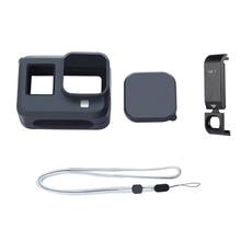 Caso da câmera de silicone capa protetora habitação com tampa da bateria carregável para gopro hero 8 acessórios de câmera esportiva preta