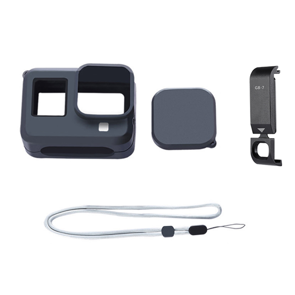 Silicone Camera Case Protective Cover Housing With Chargeable Battery Lid For GoPro Hero 8 Black Sports Camera Accessories