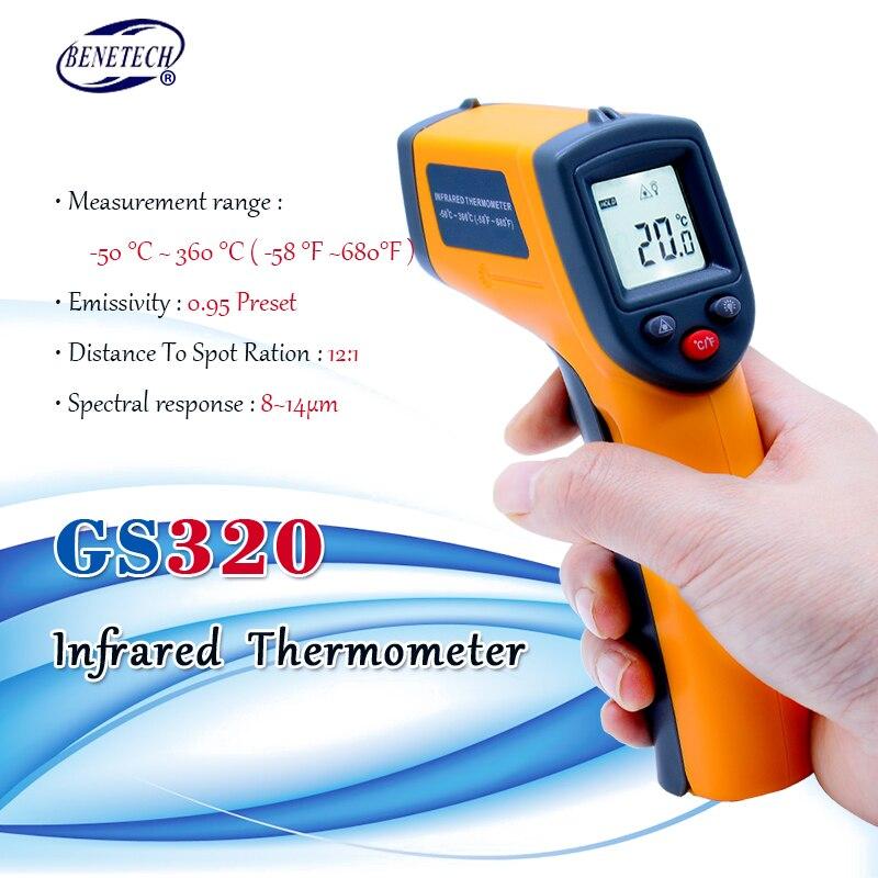 Бесконтактный цифровой лазерный инфракрасный термометр GS320 50 ~  360C ( 58 ~ 680F) температурная пирометр ИК лазерная точка  пистолетpoint gunpyrometer irnon contact -