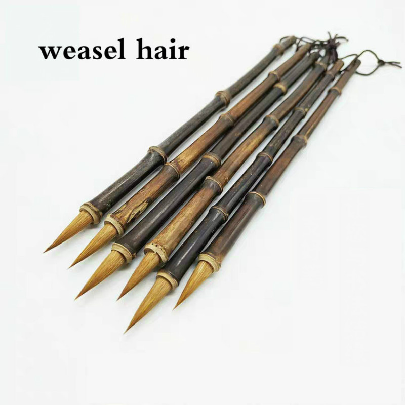 2pcs Weasel Hair Calligraphy Brush Chinese Landscape Ink Painting Writing Brush Chinese Small Regular Script Brush Pen