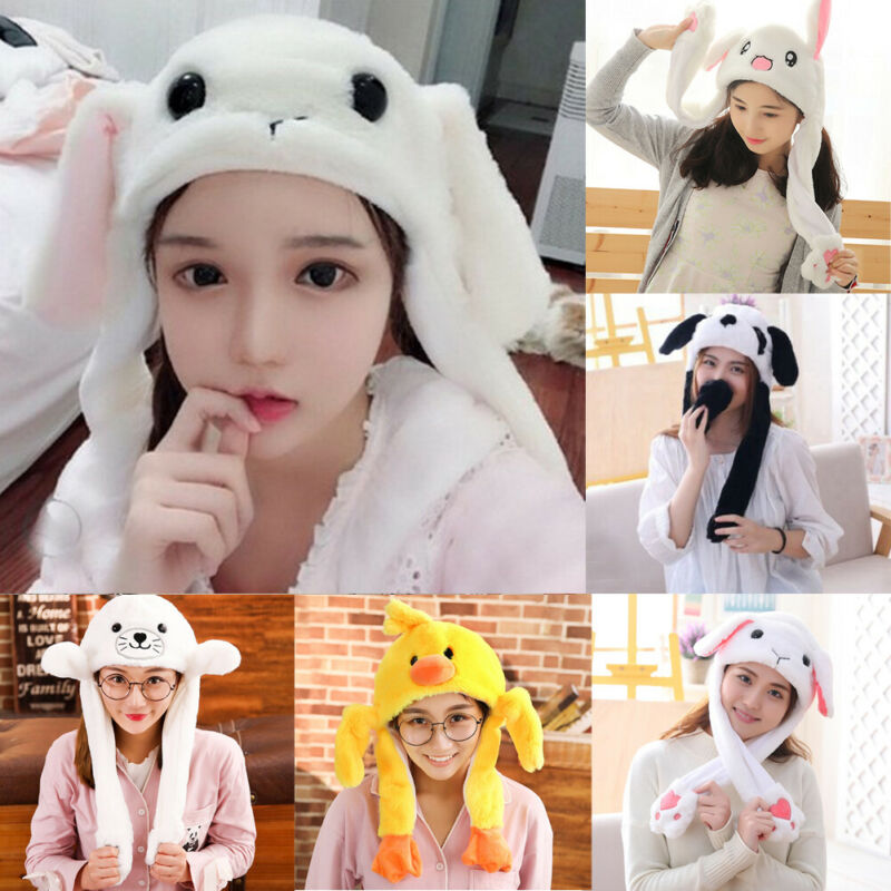 Hirigin Women Funny Cute Soft Plush Cartoon Animal Rabbit Ear Hat Bunny Cap With Airbag Jumping Ear Movable