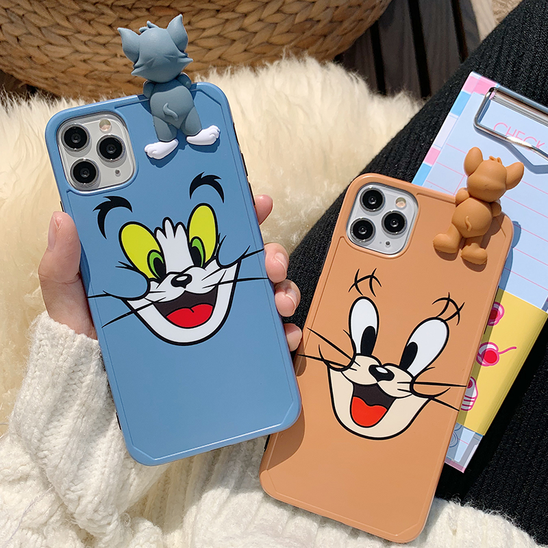 3D Cute Cartoon Cartoon Tom Jerry For iPhone 11 pro max case 7 8 Plus X XS Lovely Silicone Accessories Cover for iphone XR Cases