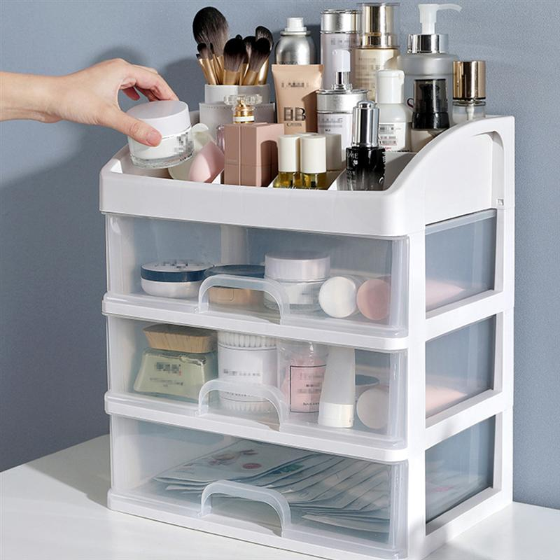 1PC Plastic Cosmetic 3 Layer Drawer Organizer Makeup Container Desktop Sundry Storage Case