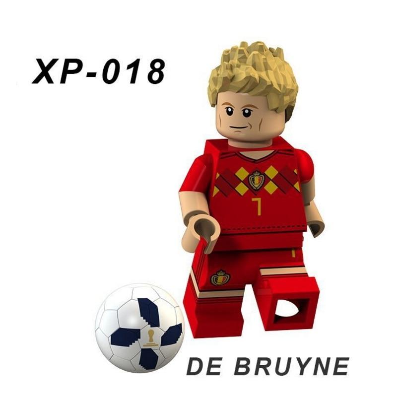 Singles Sale XP018 DE BRUYNE Football Team Player Figures Messi Beckham Building Blocks Figure Bricks Toy Kids Compatible Legoed