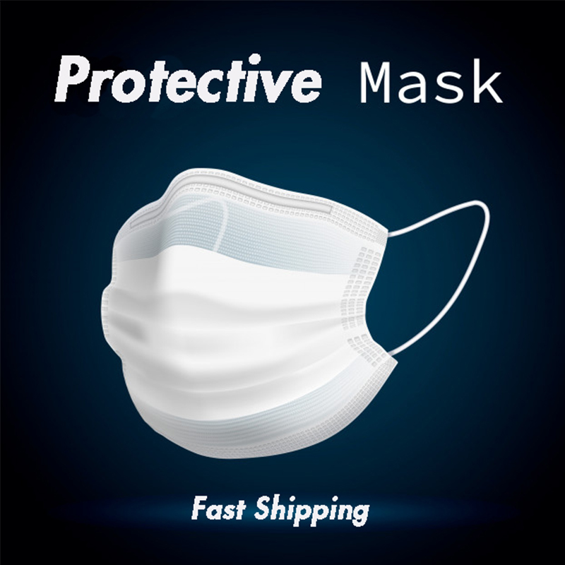IN Stock 50pcs Disposable Mask Respirator White Face Masks Facial Protective Dustproof Earloop Non Woven  Cover Masks