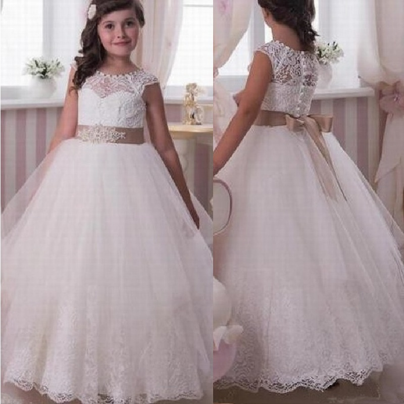 Flower Girl Lace Dress Formal Wedding Bridesmaid Graduation Pageant Gown for Kid